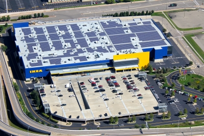 A 1 megawatt solar energy system on IKEA in in Bloomington, Minnesota.