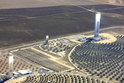 A solar power tower concentrates sunlight to yield greater energy production